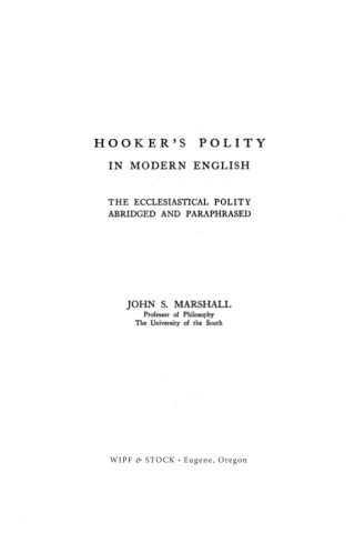 Hooker's Polity in Modern English