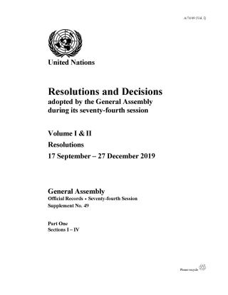 Resolutions and Decisions adopted by the General Assembly During its Seventy-fourth Session
